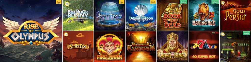 Spieleauswahl im Drückglück Casino