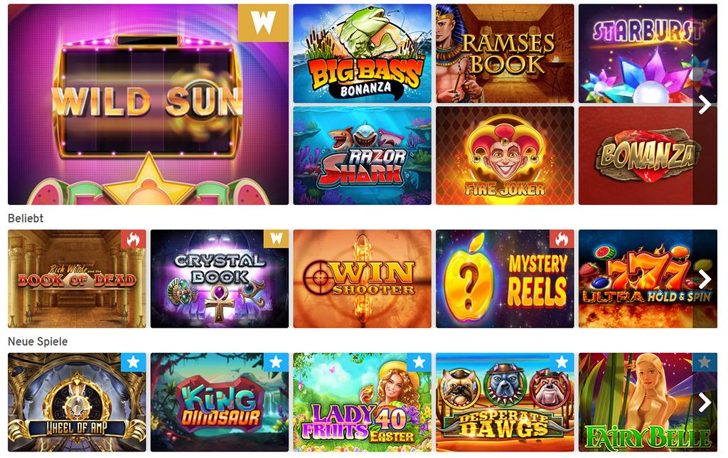 Spielangebot im Wunderino Casino